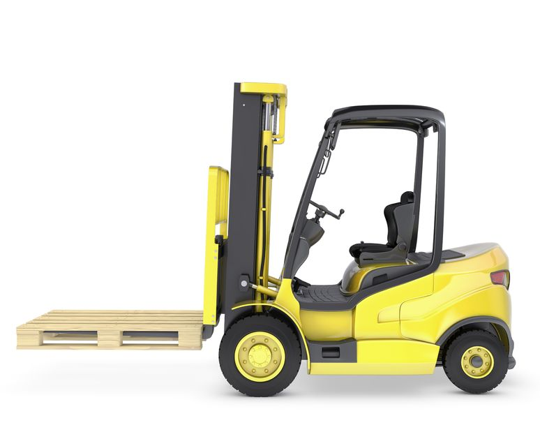 targopress.com - yellow fork lift truck with pallet, isolated on white background